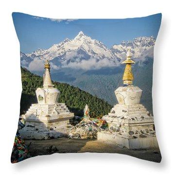 Beautiful Snow Mountain - Meili Xue Shan Throw Pillow by James Wheeler
