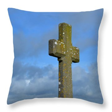 Beautiful Stone Cross In Ireland Throw Pillow by DejaVu Designs