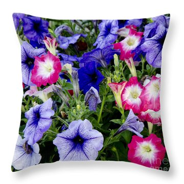 Beautiful Summer Annuals Throw Pillow by Wilma  Birdwell
