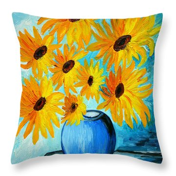 Beautiful Sunflowers In Blue Vase Throw Pillow