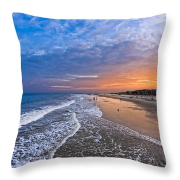 Beautiful Sunset Over Tybee Island Throw Pillow by Mark E Tisdale