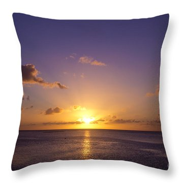 Beautiful Tropical Island Sunset On The Beach In Guam Throw Pillow