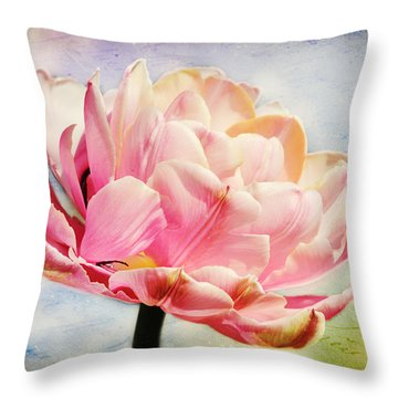 Throw Pillow featuring the photograph Beautiful Tulip by Trina  Ansel