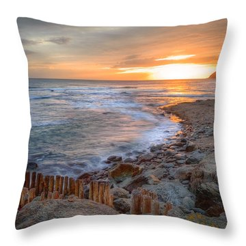 Beautiful Vibrant Sunrise Over Low Tide Beach Landscape Throw Pillow by Matthew Gibson