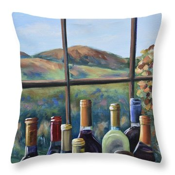 Throw Pillow featuring the painting Beautiful View by Donna Tuten