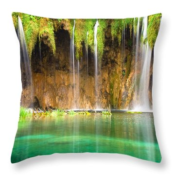 Waterfall Lagoon - Nature Photography Throw Pillow by Modern Art Prints