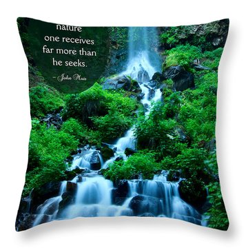 Beautiful Waterfalls Through A Walk With Nature Throw Pillow by Beverly Claire Kaiya
