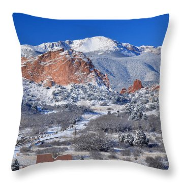 Beautiful Winter Garden Of The Gods Throw Pillow