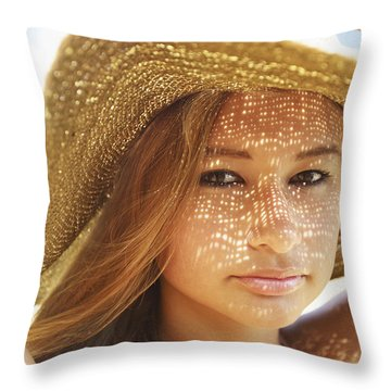 Beautiful Woman At The Beach Throw Pillow by Kicka Witte