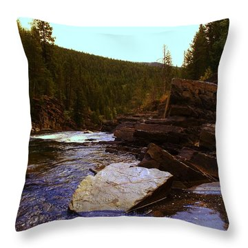 Beautiful Yak River Montana Throw Pillow by Jeff Swan