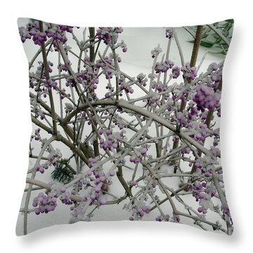 Beauty Berry Winter Throw Pillow by Marlene Rose Besso