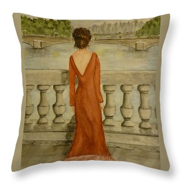 Throw Pillow featuring the painting Beauty In Paris by Kelly Mills