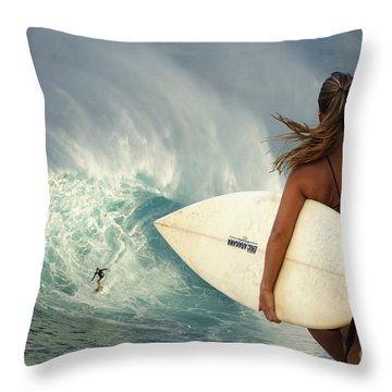 Surfer Girl Meets Jaws Throw Pillow