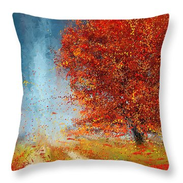 Beauty Of It- Autumn Impressionism Throw Pillow
