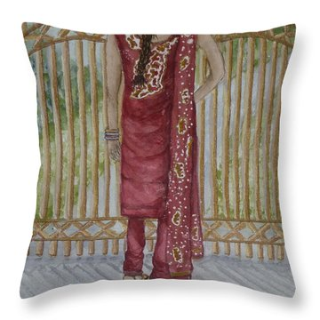 Throw Pillow featuring the painting Beauty's On This Side Of The Fence by Kelly Mills