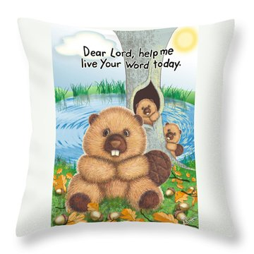 Beaver Throw Pillow by Jerry Ruffin