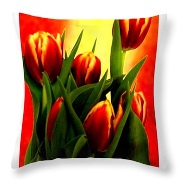 Becky Tulips Art2 Jgibney The Museum Gifts Throw Pillow by The MUSEUM Artist Series jGibney