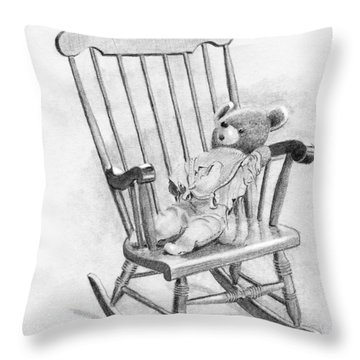 Throw Pillow featuring the painting Becky's Teddy by Dan Redmon