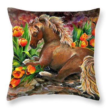 Bed Of Tulips Throw Pillow by Sherry Shipley