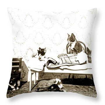Throw Pillow featuring the photograph Bed Time For Kitty Cats Histrica Photo Circa 1900 by California Views Mr Pat Hathaway Archives