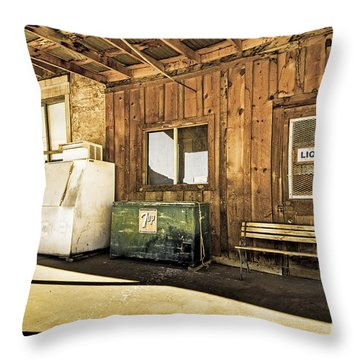 Bedrock Porch - Aged Throw Pillow by Bob and Nancy Kendrick