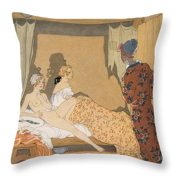 Bedroom Scene Throw Pillow by Georges Barbier