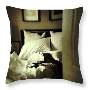 Bedroom Scene With Under Garments On Bed Throw Pillow by Sandra Cunningham