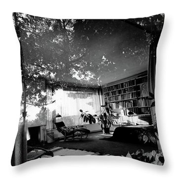 Bedroom Seen Through Glass From The Outside Throw Pillow