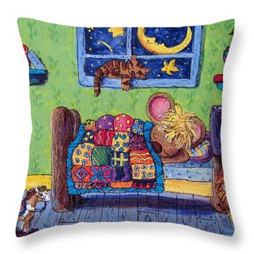 Bedtime Mouse Throw Pillow