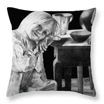 Throw Pillow featuring the drawing Bedtime by Sophia Schmierer