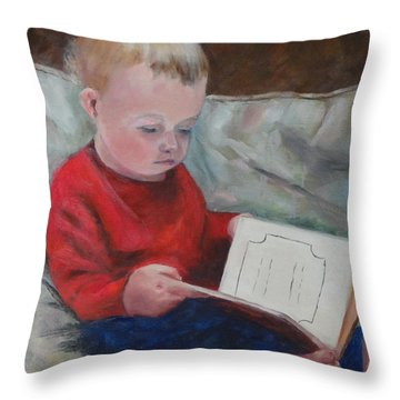 Bedtime Story Throw Pillow by Carol Berning