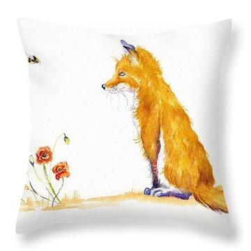 Bee A Summer Fox Throw Pillow