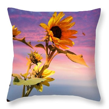 Throw Pillow featuring the photograph Bee A Sunflower by Aaron Berg