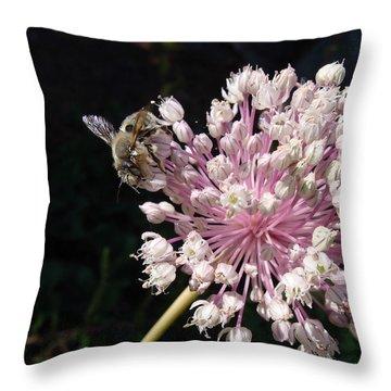 Bee And Allium Throw Pillow