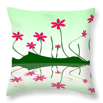 Bee Flowers Throw Pillow
