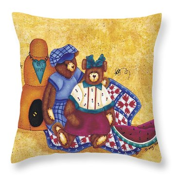 Bee Happy Throw Pillow by Tracy Campbell