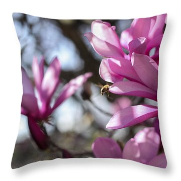 Throw Pillow featuring the photograph Bee In Flight by Amber Kresge