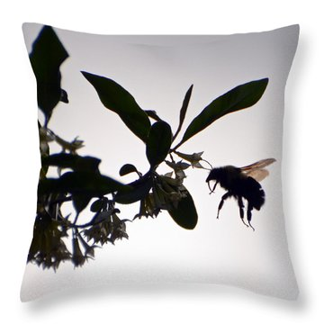 Throw Pillow featuring the photograph Bee In Flight  by Kerri Farley