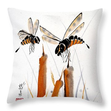 Throw Pillow featuring the painting Bee-ing Present by Bill Searle