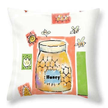 Throw Pillow featuring the digital art Bee My Honey by Arline Wagner