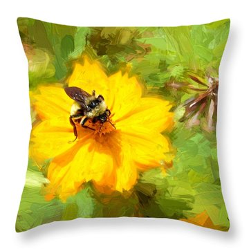 Bee On Flower Painting Throw Pillow