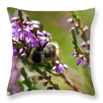 Bee On Heather Throw Pillow