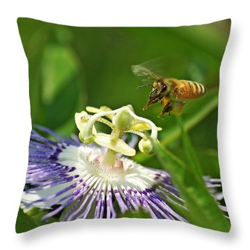 Bee On Passionflower Throw Pillow