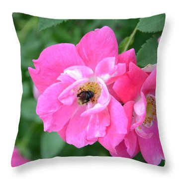 Bee Rosy Throw Pillow