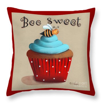 Bee Sweet Cupcake Throw Pillow by Catherine Holman