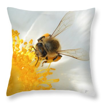 Bee-u-tiful Squared Throw Pillow by TK Goforth