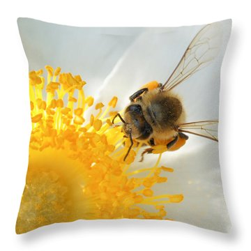 Throw Pillow featuring the photograph Bee-u-tiful by TK Goforth