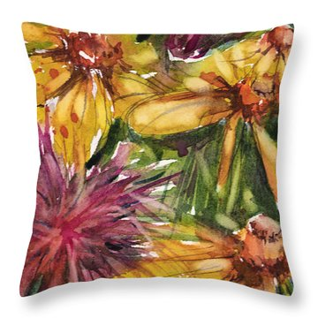 Beebalm And Heliopsis Throw Pillow
