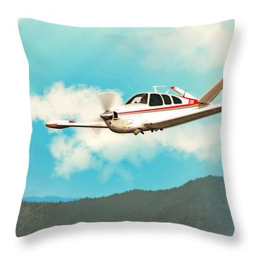 Beechcraft Bonanza V Tail Red Throw Pillow