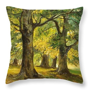 Throw Pillow featuring the painting Beeches In The Park by Sorin Apostolescu